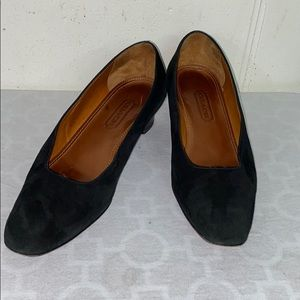 Coach Vtg Made in Italy blk suede slip on heels